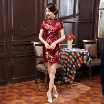 Red, White, Gold, Black, Pink Floral Silk Collection Short Cheongsam One-piece Chinese Qipao Dress