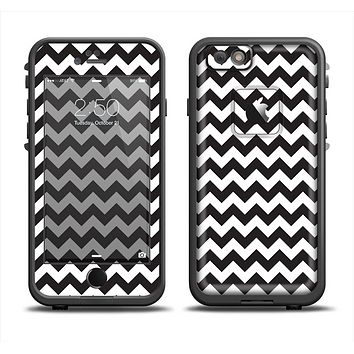 The Black & White Chevron Pattern Apple iPhone 6 LifeProof Fre Case Skin Set