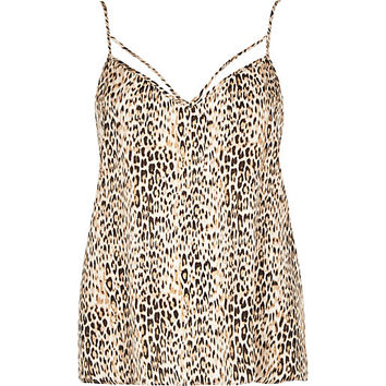 River Island Womens Brown animal print strappy cami top