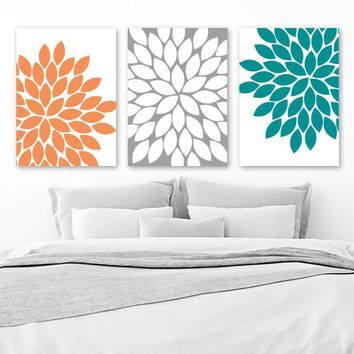 Orange Gray Teal Wall Art, Canvas or Prints, Bathroom Decor, Bedroom Wall Decor, Flower Wall Art, Flower Burst Dahlia Set of 3 Home Decor