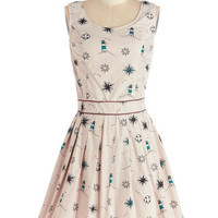 Yumi Nautical Mid-length Sleeveless A-line Compass Home Dress
