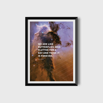 Carl Sagan / Space Art / Astronomy Art / Digital Download / Digital Print / Printable Art / Carl Sagan quote / Geometric Print / 12 x 16 in