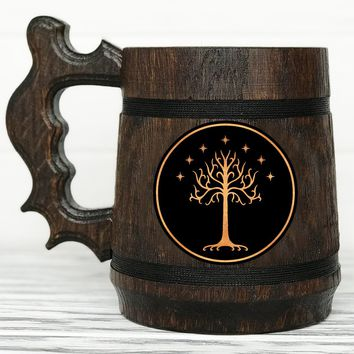 Tree Of Gondor Mug. Lord of the Rings gift. Hobbit Mug. Custom Beer Steins. Personalized LOTR Gift Frodo Wooden Beer Tankard. Gondor Mug. Hobbit Gift #77 / 0.6L / 22 ounces