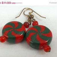 Red Green Peppermint Candy Cane Dangle Earrings Christmas Holiday 1980s Fashion Accessory Pierced Gifts for Women Teen Girls Mom Teachers