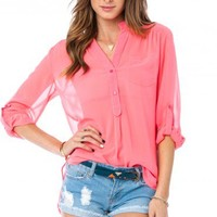 Pure Chiffon Blouse in Neon Pink - ShopSosie.com