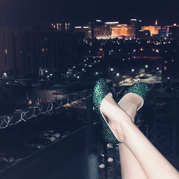 Bedazzled Ballet Flats In Nude With Forest Green Crystals