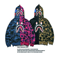 Bape Shark Hoodies Zippers Hats Korean Couple Casual Jacket [9511603719]