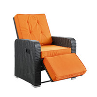 Commence Patio Outdoor Patio Armchair Recliner in Espresso Orange