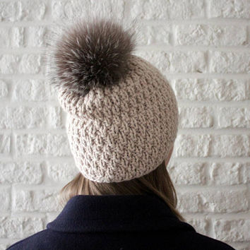 Cashmere hat, Fur pom pom hat, Chunky knit hat, Fur bobble hat, Cashmere beanie, Vicuna, Pom pom hat, Double knit hat, Beige hat