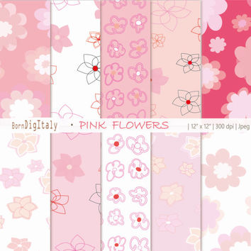 Floral Paper Floral Digital Paper Pack Pink Flowers Paper Light Pink Paper Pastels Floral Pattern Floral Background Pink Pattern Scrapbook