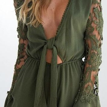 Point Of View Olive Green Long Crochet Sleeve Plunge V Neck Tie Front Cut Out Waist Romper Playsuit