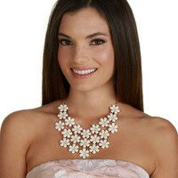 Fold Epoxy Flower Bib Necklace