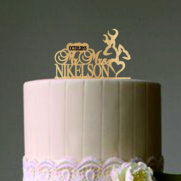 Deer Wedding Cake Topper - Country Wedding Cake Topper - rustic cake topper - personalized - shabby chic - cowboy cake topper - western