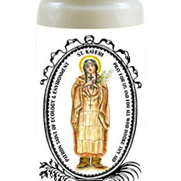 St Kateri 1st Native American Saint Patron of Ecology & Environment 8 Ounce Scented Soy Prayer Candle