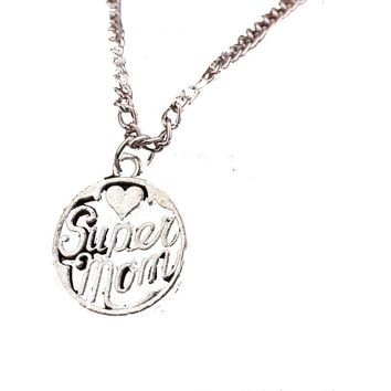 Super Mom Hollow Silver Plated Heart Pendant Necklace