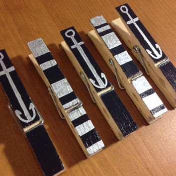 Navy Blue and Silver Nautical Anchor Scribbles and Stripes Photo-Hanging Clothespins (Set of 5)