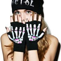 Too Fast Day Of The Dead Bones Fingerless Gloves Black One