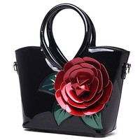 Messenger Bag for Women Famous Brand Designer Women's Handbag Vintage Flower Patent Leather Luxury Bags for Women Bolsa Feminina