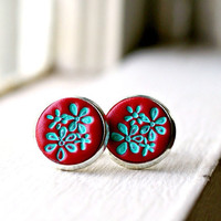 ruby sue stamped polymer clay silver post earrings