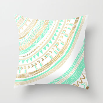 Mint + Gold Tribal Throw Pillow by Tangerine-Tane