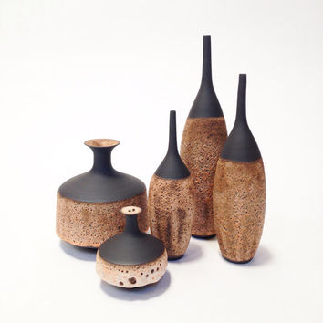Ships Now-  set of 3 stoneware bottle vases in raw black clay  and pink/raspberry colore crater glaze by sarapaloma