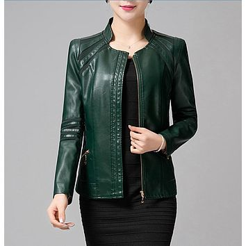 Mother Clothing Autumn Winter Leather Women Army Green Spliced Plus Leather Jacket Women Long Sleeve Fashion Female Clothing