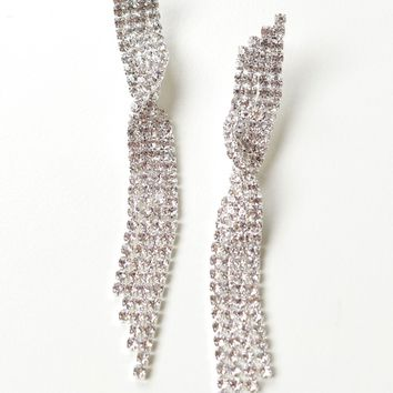 Crystal Twist Drop Earring Silver