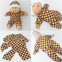 "Cabbage Patch Clothes, BITTY BABY DOLL Clothes,  fits 14-15"" dolls - brown sunflower pants shirt & hat"