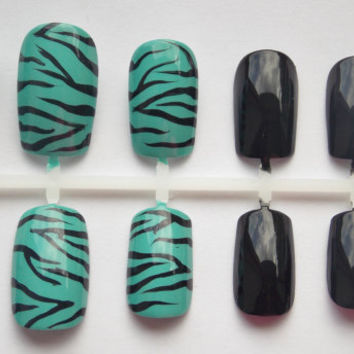 Teal Zebra Print Fake Nails - False, Artificial, Acrylic, Press-On