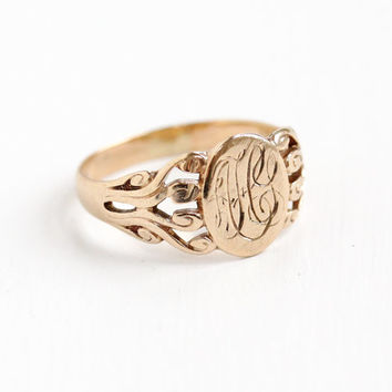Antique Art Nouveau Monogrammed 10k Rose Gold Ring - Vintage Early 1900 Swirl Shoulders Size 6 Initial Fine Signet Jewelry J.R. Wood & Sons