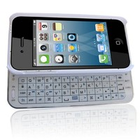 SQdeal® High Quality Classic White Mini Filo Sliding Bluetooth Wireless Keyboard Case Cover for Apple iPhone 5 5G 5s