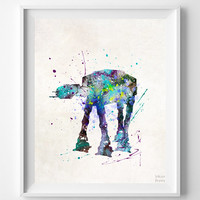 Star Wars Print, AT Watercolor Art, AT-Walker Poster, Dorm Room Art, Nursery Wall Art, Street Art, Baby Room Decor, Halloween Decor