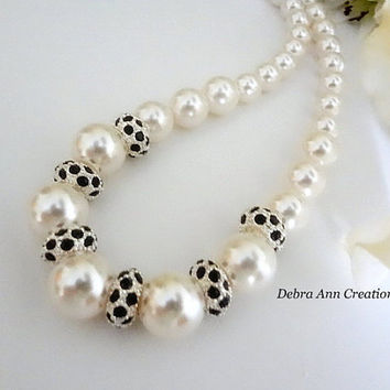 Swarovski White Pearl Black Crystal Bridal Necklace Black White Wedding Formal Jewelry Graduating Cream Pearl Necklace Bride Jewelry Chunky