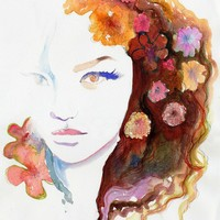 Watercolor Fashion Illustration Print  C est by silverridgestudio