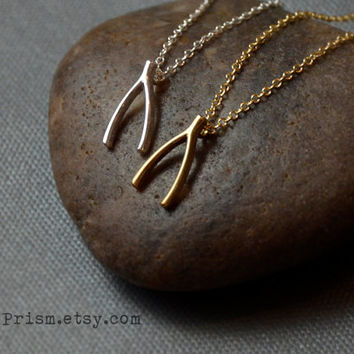 Wishbone Charm Pendant / Gold or Silver Chain Necklace / Dainty Delicate necklace / Simple Necklace   Wish bone Charm necklace