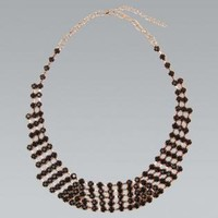 Black Faceted Stone Statement Collar Necklace