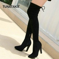 Woman Suede Lace Up Over The Knee Boots Stretch Shoes Fashion Side Zipper Square High Heel Dress Thigh Boots Black