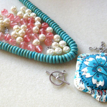 Polymer Clay Pendant Turquoise  Cherry Quartz Glass Pearls Pewter  Bead Kits Jewelry Kit DIY