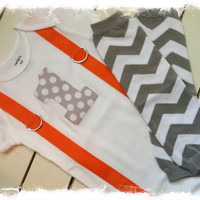 Boys First Birthday Outfit-Boys Birthday Set with Polka Dot 1,Orange Suspenders and Gray Chevron Leg Warmers