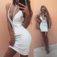 Fashion Solid Color Deep V-Neck Sleeveless Halter Strap Backless Mini Dress