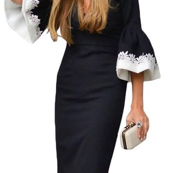 Elegant Black White Bodycon Ruffle Sleeve Cuff Midi Dress