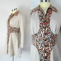 Animal Print Mod Mini Dress 1960s 1970s Button Down Flare Leopard Print