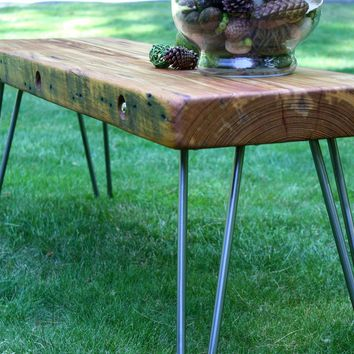 Reclaimed Historical Wood Bench -Coffee Table with salvaged old growth lumber wood slab top with 1/2