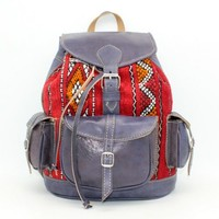Kilim And Leather Backpack, Womens Leather Backpack, Vintage Style Blue Leather Rucksack
