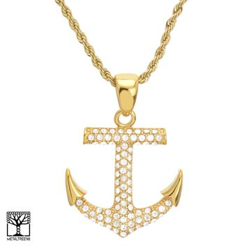 """Jewelry Kay style Gold Plated CZ Iced Stainless Steel Anchor Pendant 24"""" Chain Necklace SCP 2021 G"""