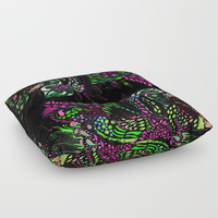 Swan Floral Floor Pillow by ES Creative Designs