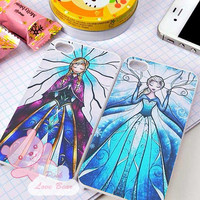 disney frozen elsa and anna stained glass couple Design for iPhone 4, iPhone 4s, iPhone 5, Samsung Galaxy S3, Samsung Galaxy S4 Case