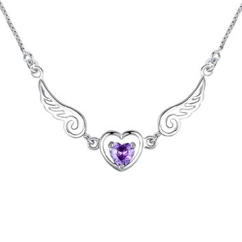 Valentine Gift Jewelry Angel Wings Heart Love Pendant Necklace Color Silver Plated