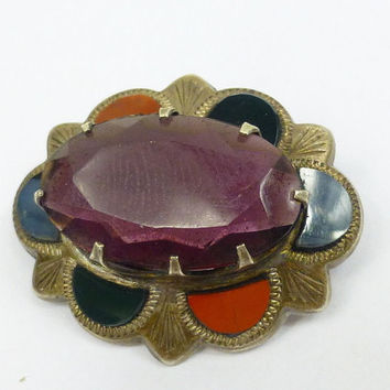Antique Victorian Silver Scottish Agate Brooch