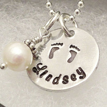 Hand Stamped Necklace - Footprint Necklace - Freshwater Pearl - Personalized New Mom Necklace